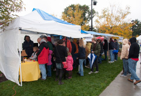 Even with the rain and cold our booth was packed most of the day